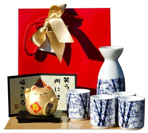 Gift bag - Tou Cat Golden & Bamboo Sake set on white - Japanese 4 cups